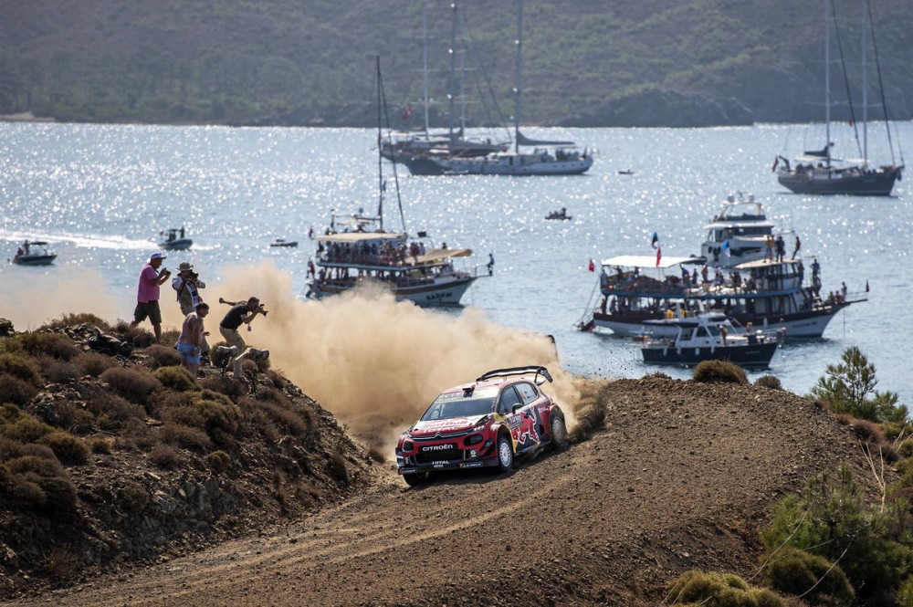 Esapekka Lappi (FIN) Janne Ferm (FIN) of team Citroen Total WRT are seen racing at special stage nr. 9 - Datca during the World Rally Championship Turkey in Marmaris, Turkey on September 14, 2019 // Mahmut Cinci / Red Bull Content Pool // AP-21K2ZHN5W2111 // Usage for editorial use only //