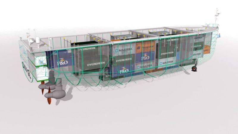 Selbstfahrendes Containerschiff